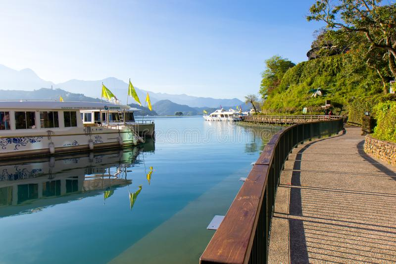Sunrise in Sun Moon Lake Taiwan royalty free stock images