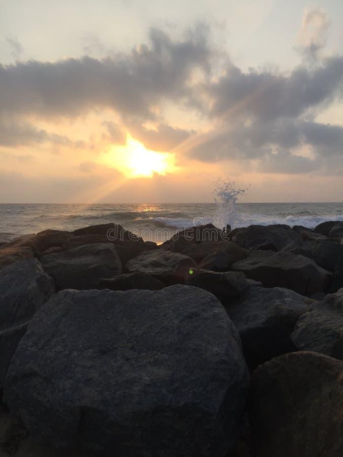 Sunrise. Moring beach beautiful scence stock images
