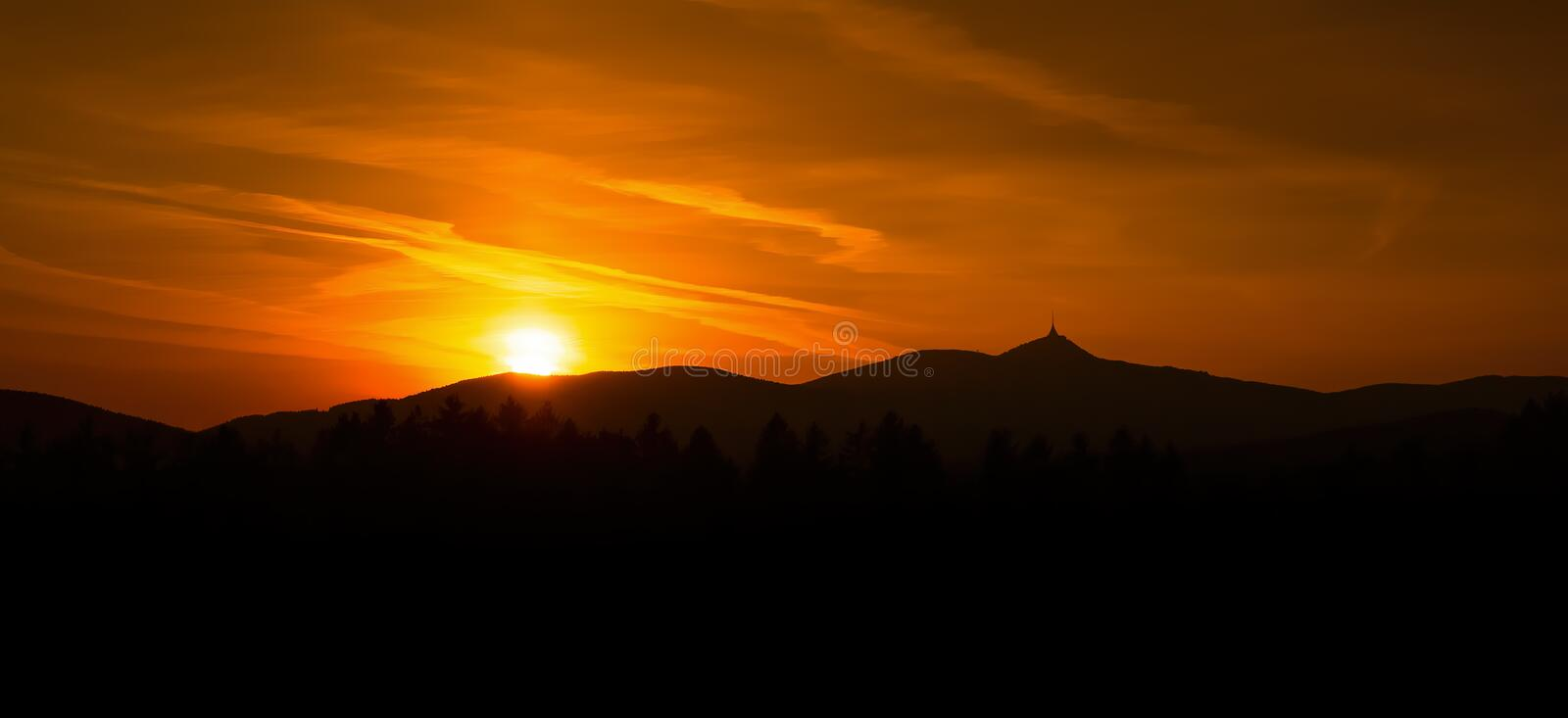 Sunrise sunse over the city of Liberec, Czech republic. Jested. View from the view Prosec, Jested Mountain. Jizerske mountains and Liberec stock photography