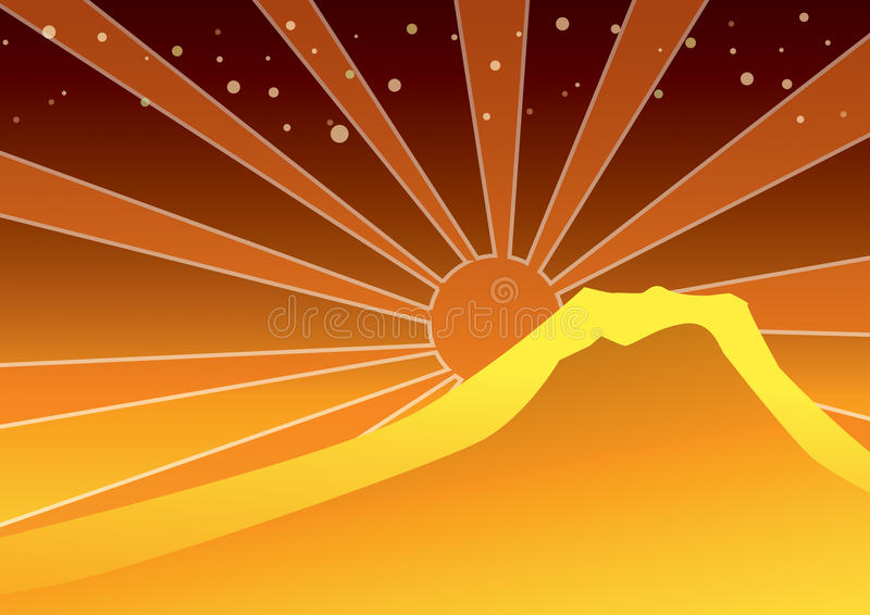 Sunrise and sunset behind the mountain royalty free stock image