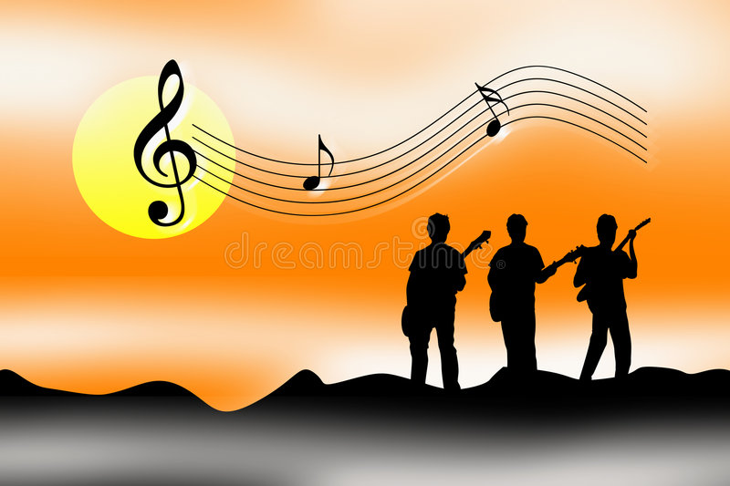 Sunrise sunset celebrate music. An illustration showing four musicians and a sunrise or sunset with mist and clouds around. The four musicians are shown in stock illustration