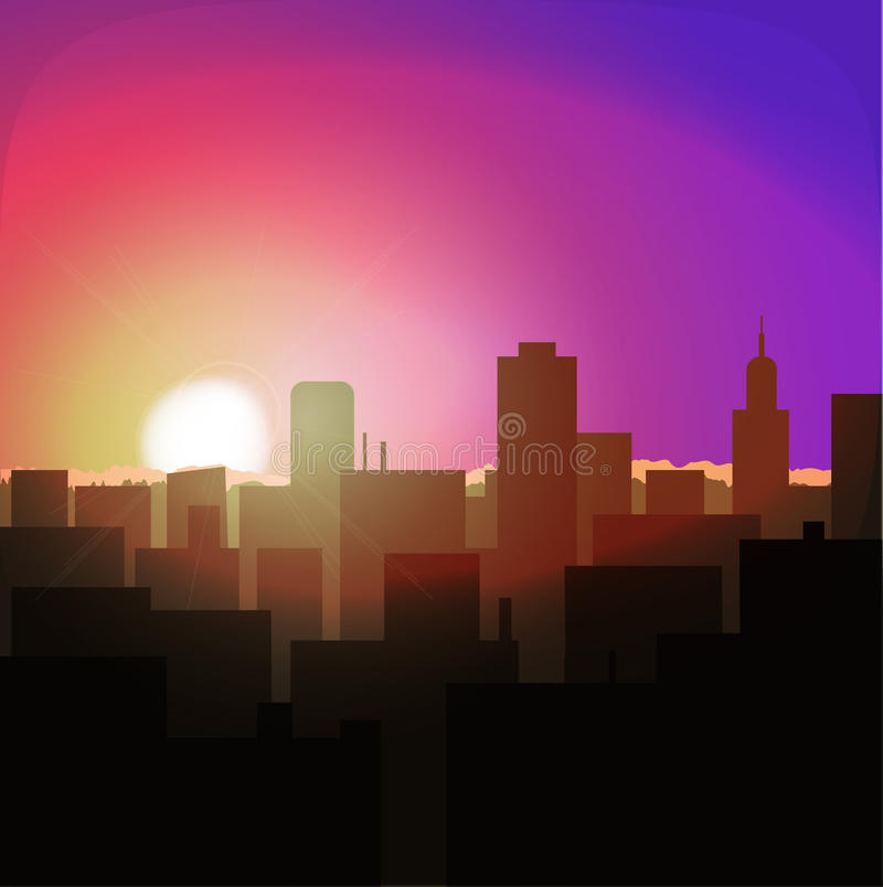 sunrise or sunset in city. urban landscape evening or morning royalty free illustration