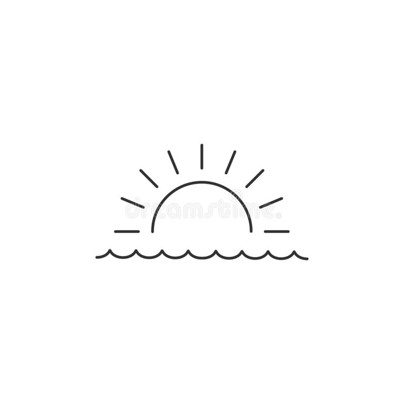 Sunrise or sunset over the sea linear minimal single flat icon. Sea and waves line vector icon. Vector illustration isolated on. Sunrise or sunset over the sea vector illustration
