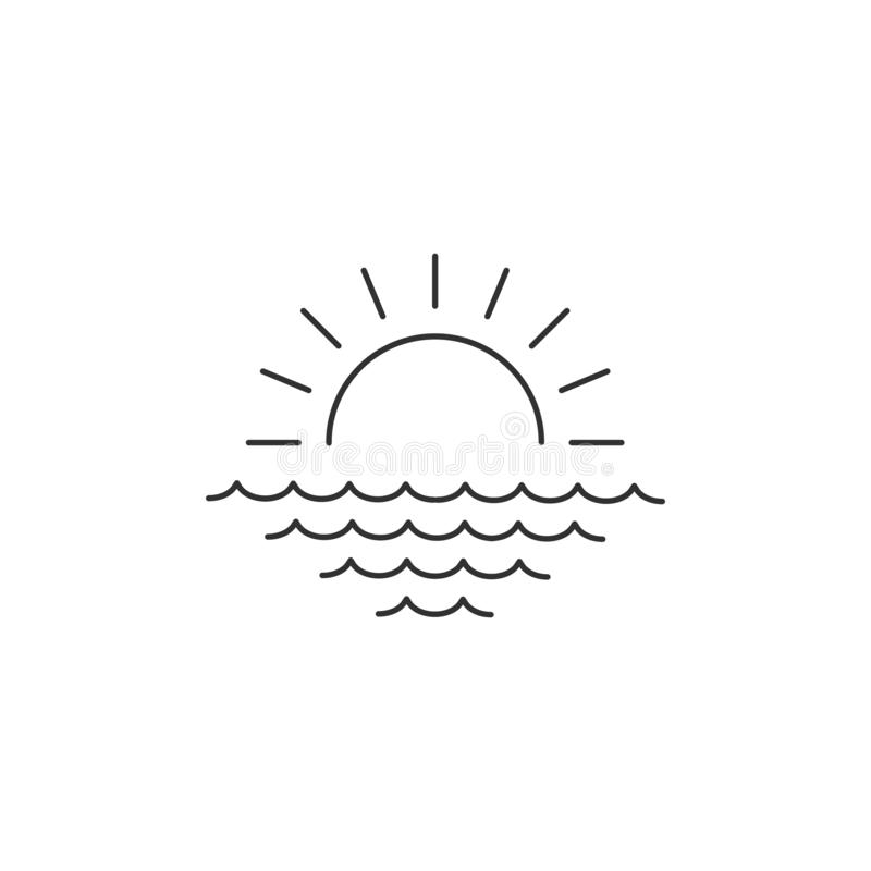 Sunrise or sunset over the sea linear minimal single flat icon. Sea and waves line vector icon. Vector illustration isolated on. Sunrise or sunset over the sea stock illustration