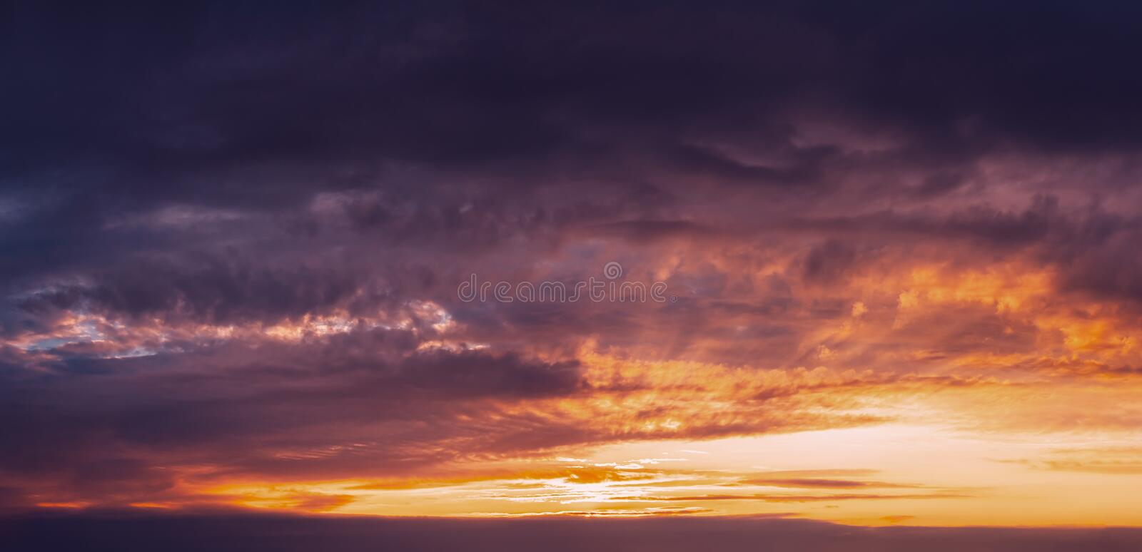 Sunrise Sunset Sky. Bright Dramatic Sky With Colorful Clouds. Ye. Llow, Orange And Magenta Colours. Panorama stock photos