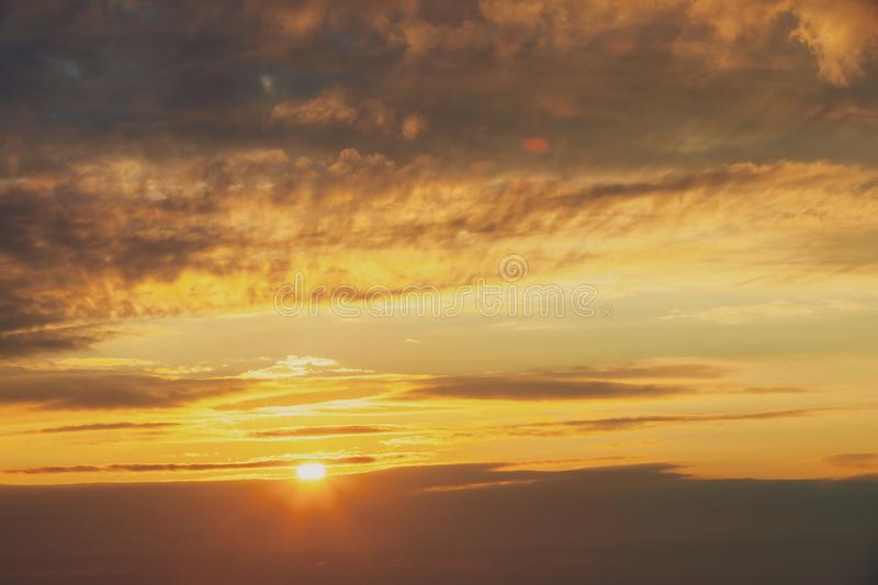 Sunrise Sunset Sky. Bright Dramatic Sky With Colorful Clouds. Ye. Llow, Orange And Colours stock image