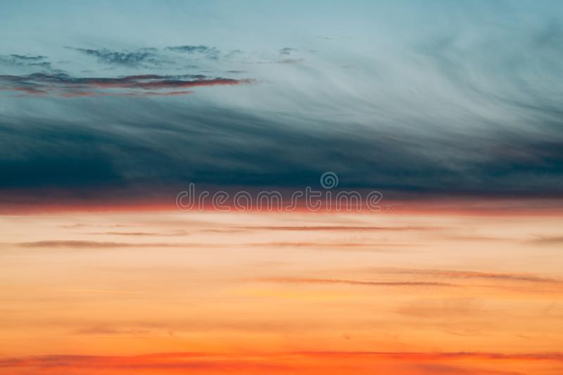 Sunrise Sunset Sky. Bright Dramatic Sky With Colorful Clouds. Yellow, Orange Colours. Sunrise Sunset Sky. Bright Dramatic Sky With Colorful Clouds. Yellow royalty free stock photo