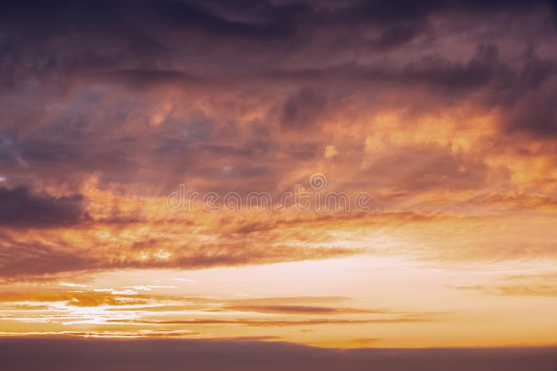 Sunrise Sunset Sky. Bright Dramatic Sky With Colorful Clouds. Ye. Llow, Orange And Magenta Colours stock images