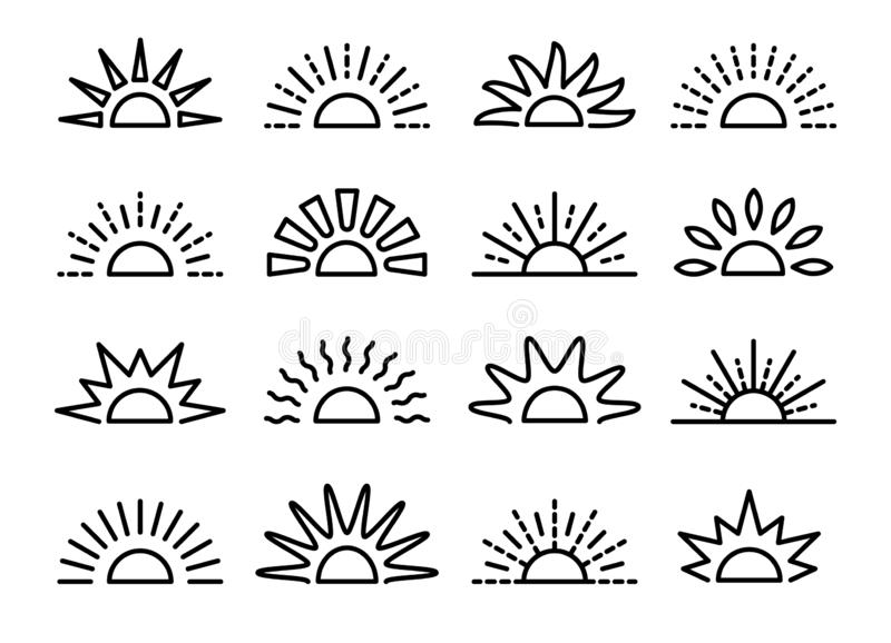 Sunrise & sunset symbol collection. Horison line vector icon set. Morning sun light signs. Isolated object. On white background vector illustration