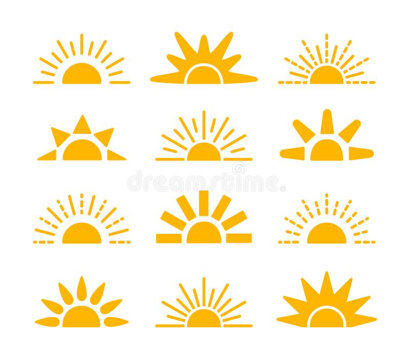 Sunrise & sunset symbol collection. Horizon flat vector icons. Morning sunlight signs. Isolated object. Yellow sun rise over. Sunrise & sunset symbol collection vector illustration