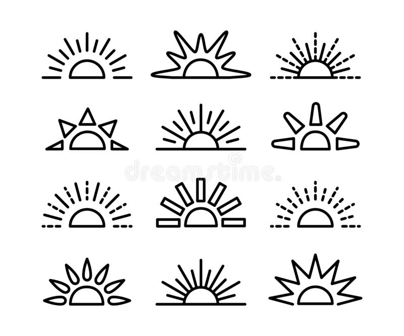 Sunrise & sunset symbol collection. Horizon line vector icon set. Morning sun light signs. Isolated object. On white background royalty free illustration