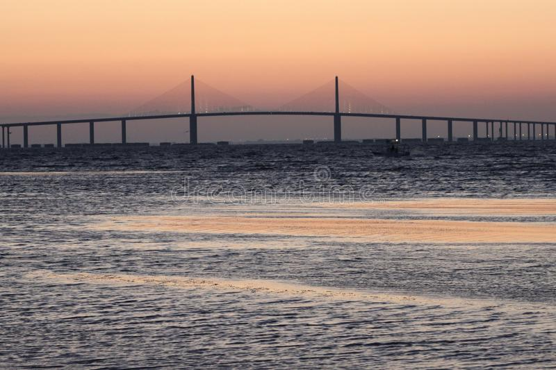 Sunrise at Sunshine Skyway Bridge stock photos