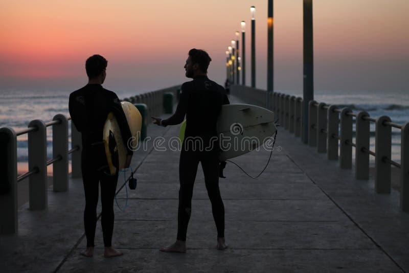 Sunrise surfing royalty free stock image