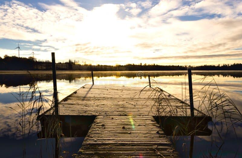 Sunrise on a Swedish lake royalty free stock photography