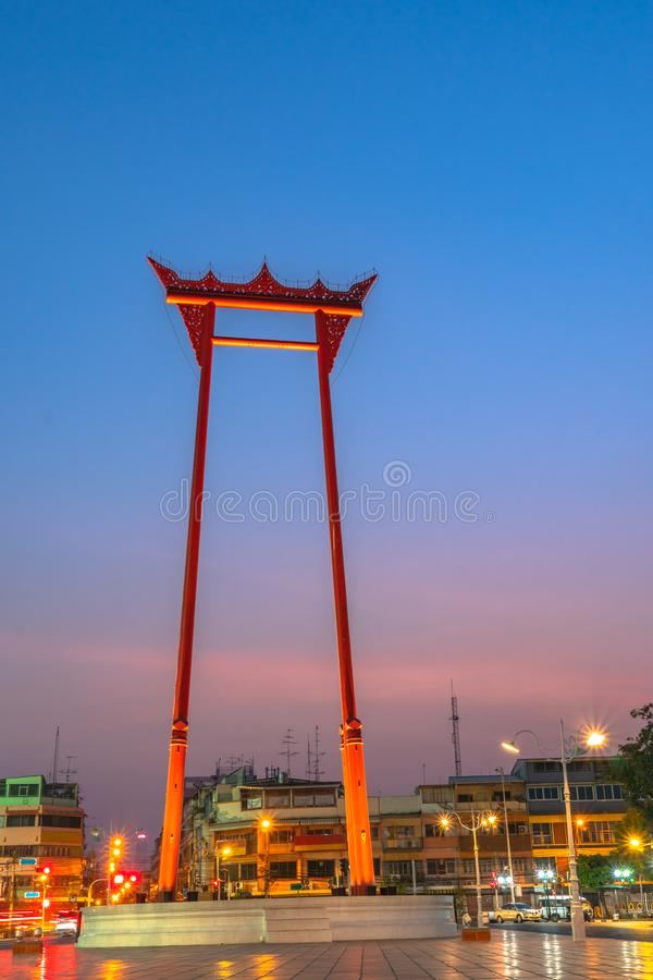 Sunrise at Chingcha or Swing pillars in Bangkok. Sunrise at Swing pillars in Bangkok. Sao Chingcha or Swing pillars are the architecture created for the ceremony royalty free stock photography