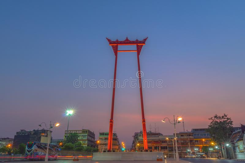 Sunrise at Chingcha or Swing pillars in Bangkok. Sunrise at Swing pillars in Bangkok. Sao Chingcha or Swing pillars are the architecture created for the ceremony stock image