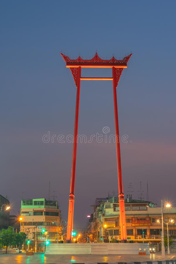Sunrise at Chingcha or Swing pillars in Bangkok. Sunrise at Swing pillars in Bangkok. Sao Chingcha or Swing pillars are the architecture created for the ceremony stock images