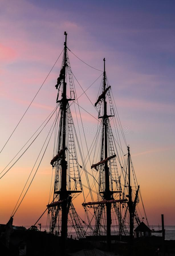 Sunrise, Tall Ships, Charlestown Harbour, Cornwall. Sunrise, Tall Ships rigging, Charlestown Harbour, in the beautiful county of Cornwall royalty free stock photography