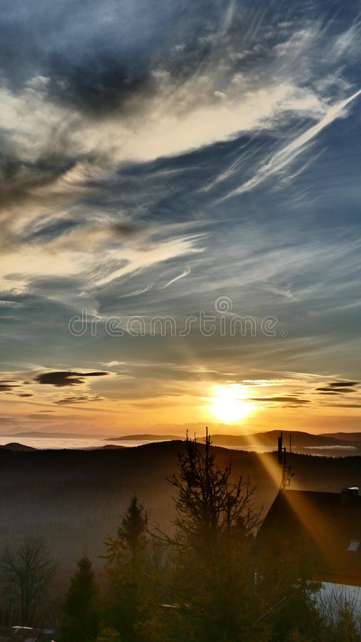 Sunrise on the Tatra Mountains. A distant mountain panorama. Oct.. Photo taken from the top of the game Wielka Racza in the Å»ywiec Beskid. On the Polish royalty free stock photos