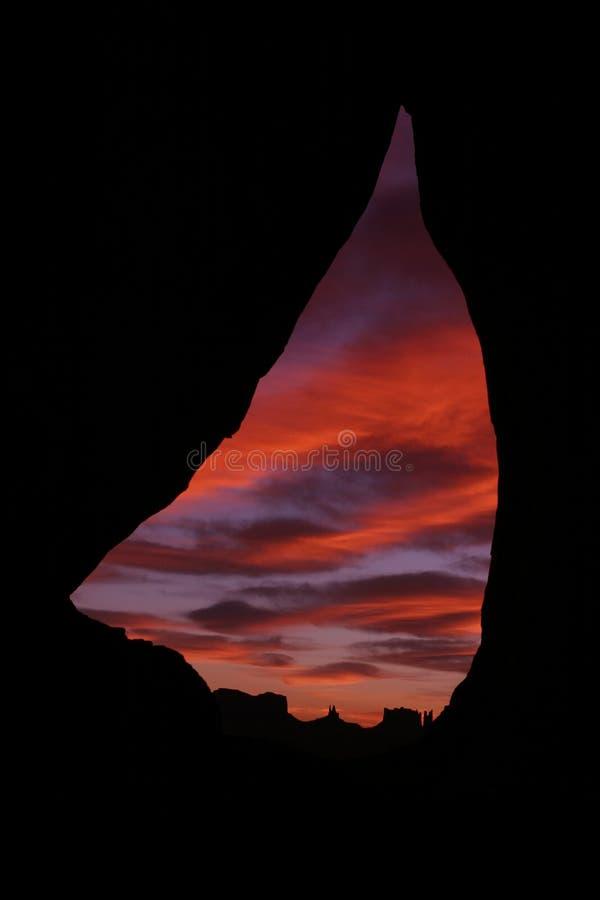 Sunrise at Teardrop Arch Overlooking Monument Valley, Arizona stock photo