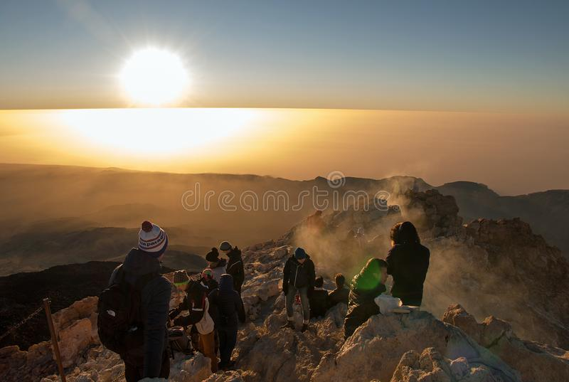 Sunrise on the Teide stock images