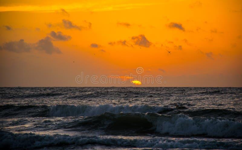 Sunrise Texas Beach Deep orange Golden Hour Ocean Sunrise royalty free stock photo