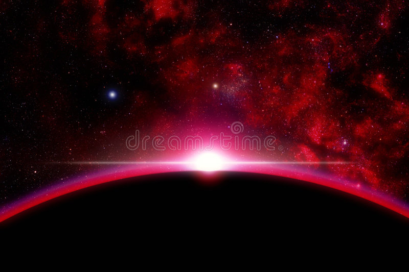 Sunrise to the space. A space illustration of a sunrise to the space