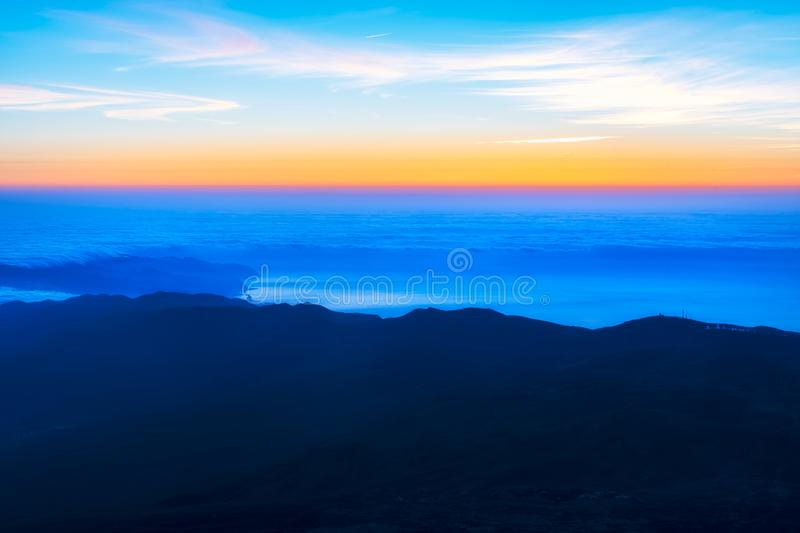 Sunrise from top of the El Teide volcano national park in Tenerife stock photo