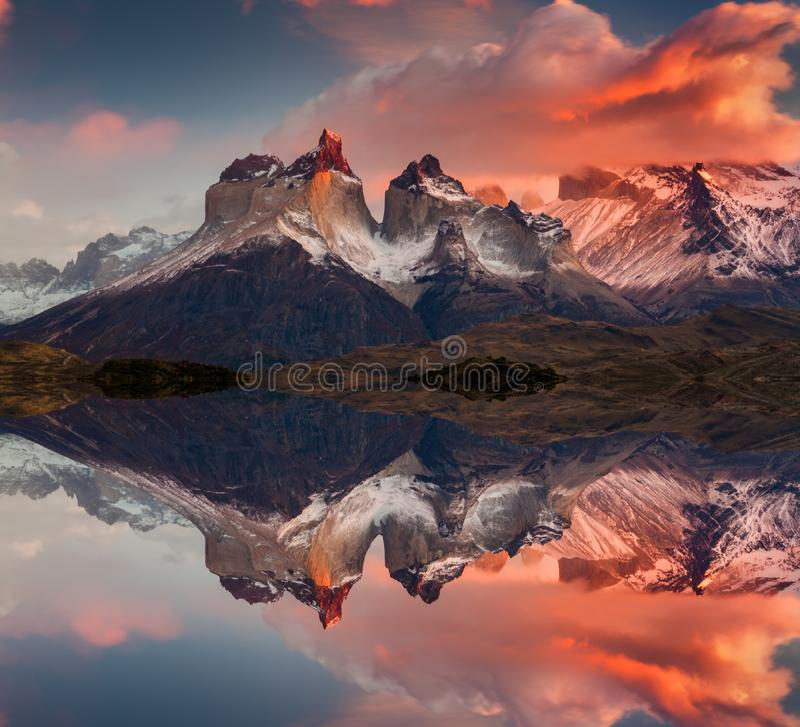 Sunrise in Torres del Paine National Park, Lake Pehoe and Cuernos mountains, Patagonia, Chile stock image