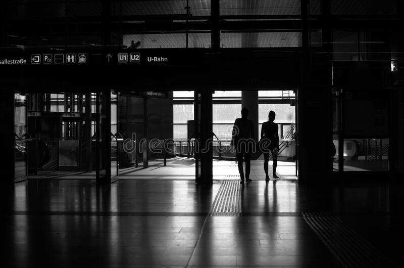 Sunrise at the trainstation royalty free stock photography