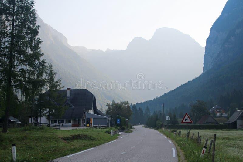 Sunrise in Trenta village in Soca valley in Slovenia. Sunrise in Trenta village in Triglav National Park in Soca river valley in Slovenia royalty free stock image