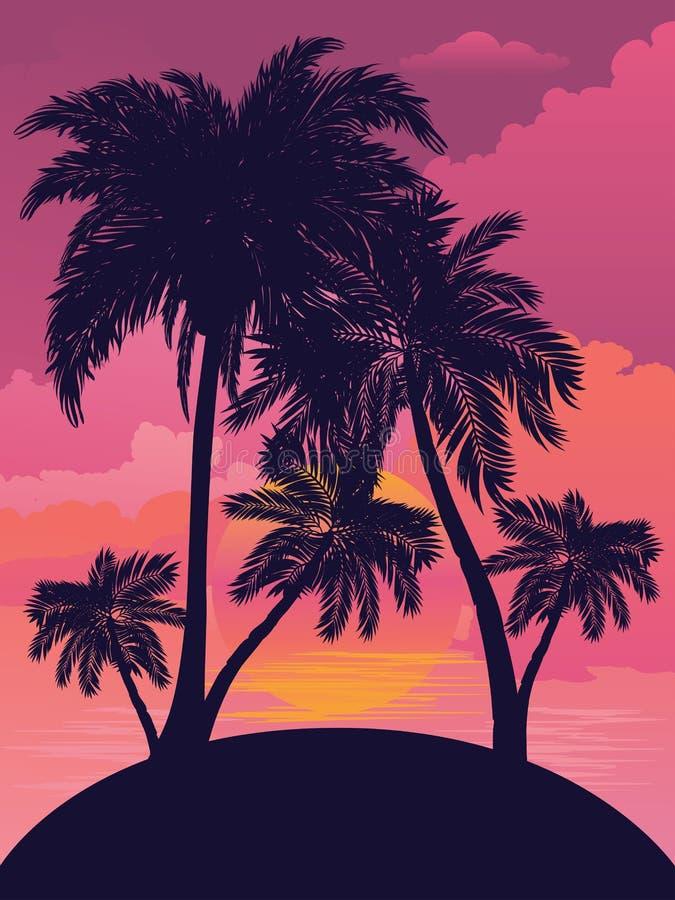 Sunrise tropical island. Palm trees on tropical island landscape, sunrise or sunset background royalty free illustration