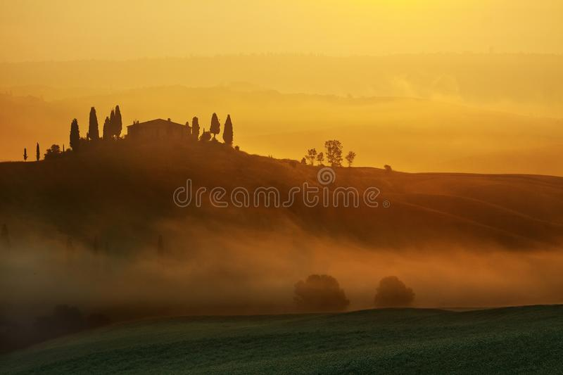 Sunrise Tuscany Landscape Stock Photo