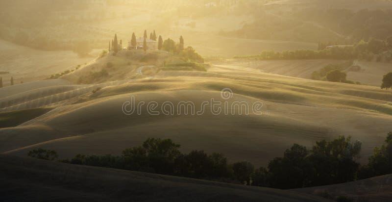 Sunrise Tuscany landscape royalty free stock image