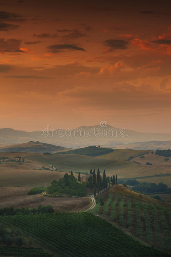 Sunrise Tuscany landscape royalty free stock photos