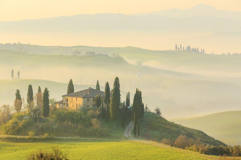Sunrise in Tuscany stock photos