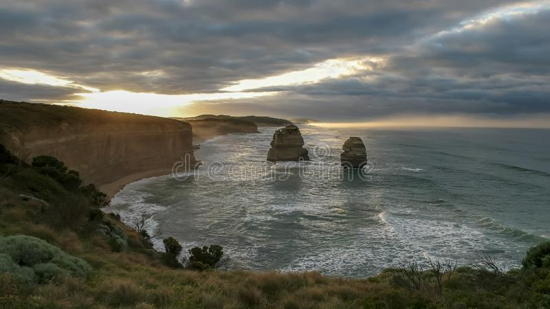Sunrise at the twelve apostles on the great ocean road. In victoria, australia royalty free stock photography