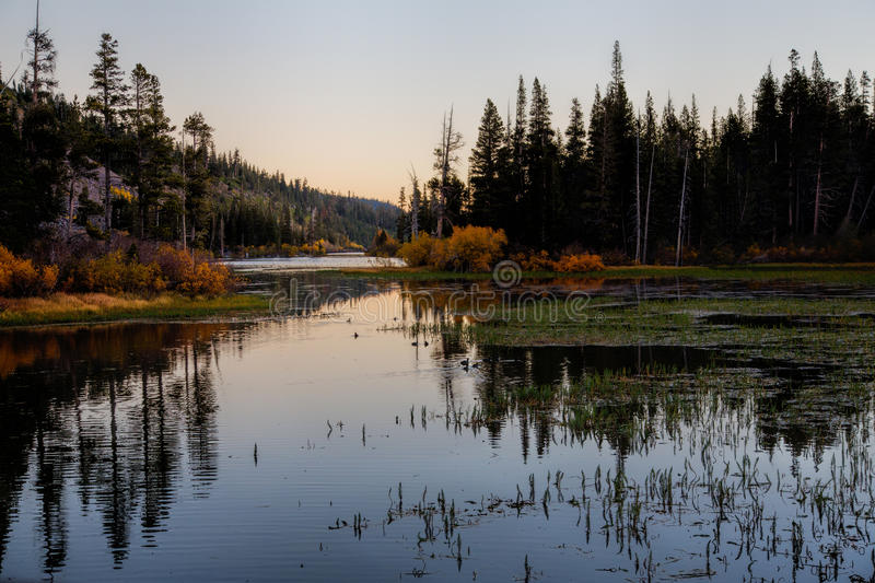 Sunrise at Twin Lakes. Mammoth, CA Perfect October morning with clear skies, fall colors and the sun rising over the mountain. The reflection of trees and stock photos