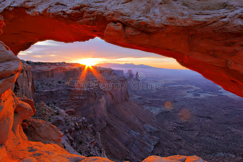 Sunrise under Mesa Arch stock images