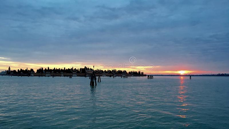 Sunrise in Venice. Early morning start to catch the sunrise in Venice, Italy stock photo