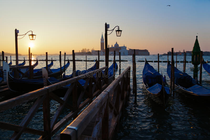 Download Sunrise In Venice With Gondolas Stock Image - Image: 29220059
