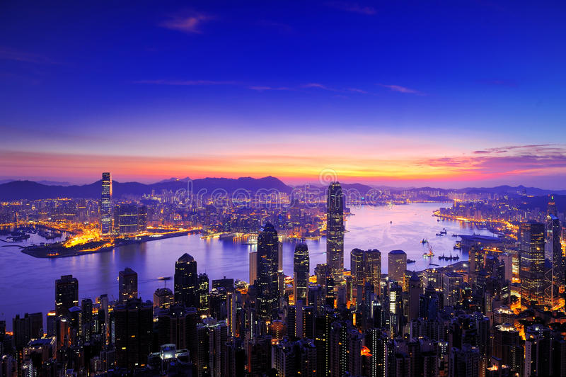 Sunrise of Victoria Harbour , Hong Kong stock images