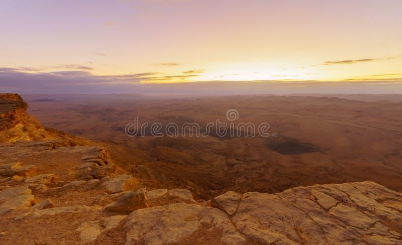 Sunrise view of Makhtesh crater Ramon stock photos