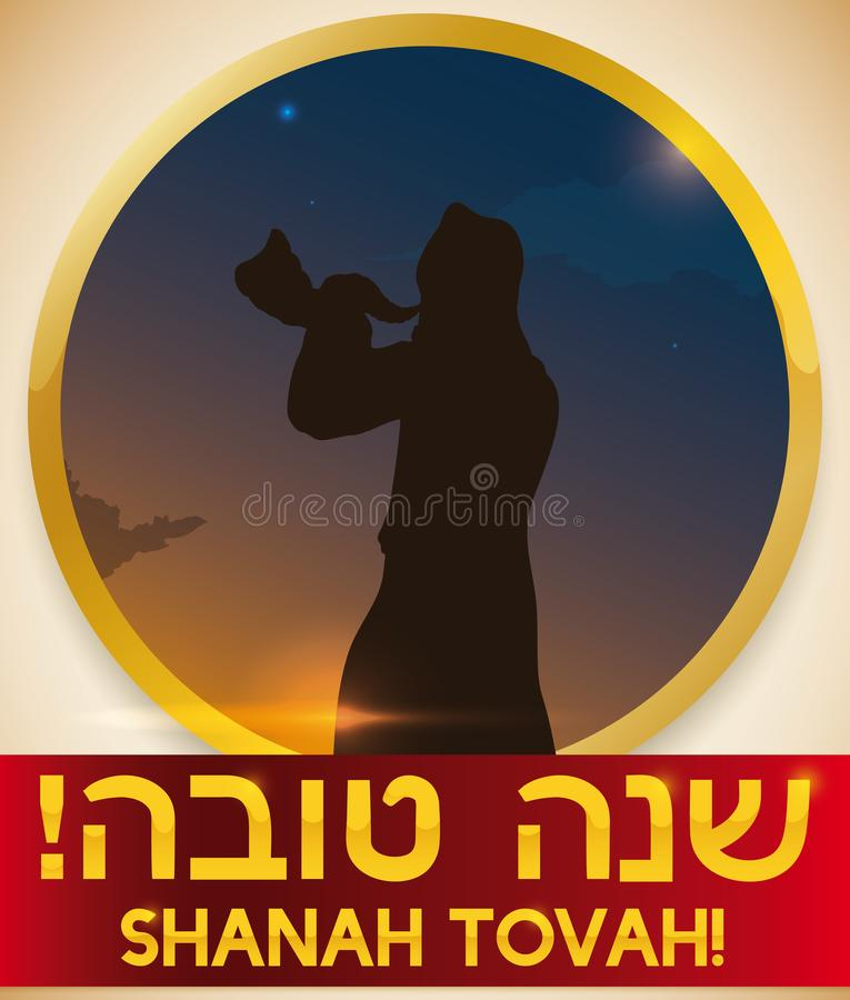 Sunrise View with Man Blowing Shofar for Jewish New Year, Vector Illustration. Sunrise view with man silhouette blowing a Shofar horn to celebrate Rosh Hashanah stock illustration