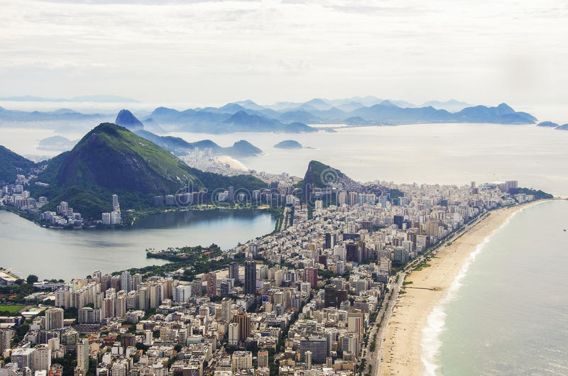 Sunset view of mountain Sugar Loaf and Botafogo in Rio de Janeiro. Brazil. Sunrise view of mountain Sugar Loaf and Botafogo in Rio de Janeiro. Brazil stock images