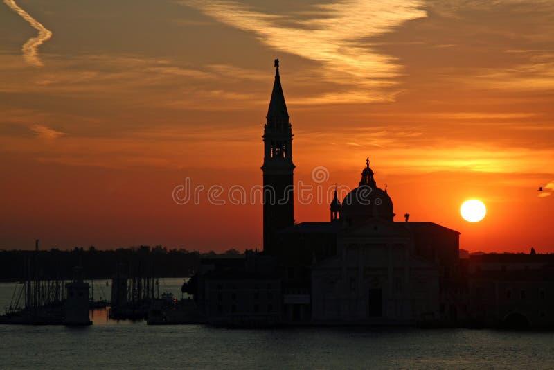 Sunrise view of San Giorgio Maggiore church in Venice, Italy stock photos