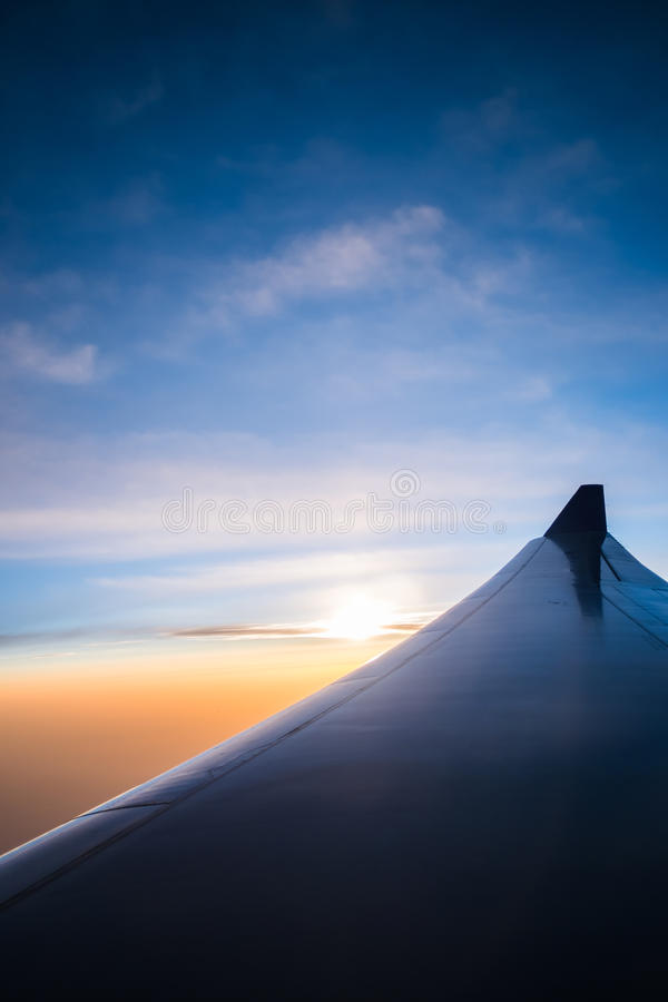 Sunrise view from window airplane in Abstract style. 5 royalty free stock photography