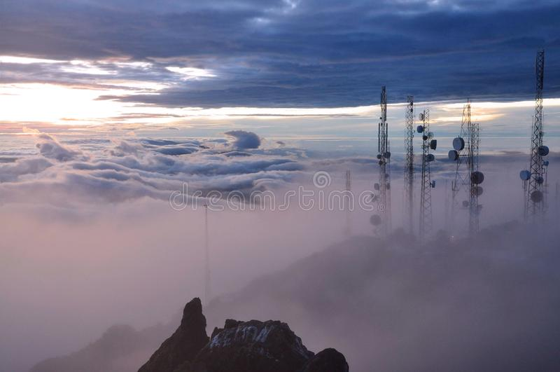 Sunrise from volcano in Panama royalty free stock photos