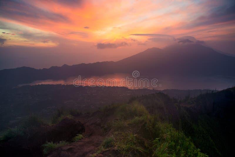 Sunrise on the volcano top stock photos