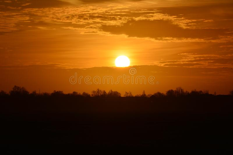 Sunrise at Waverveen the Netherlands royalty free stock photography